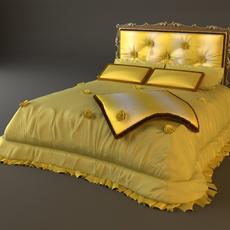 Padded Headboard Bed 3D Model