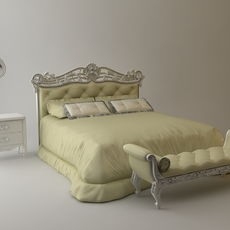 Headboard Bed & bench & nightstand & mirror 3D Model