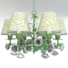 Green chandelier with roses 3D Model