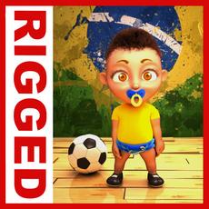 Brazilian football baby Cartoon Rigged 3D Model