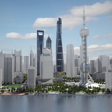 Shanghai Tower Downtown 3D Model