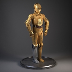 C3PO Star Wars Droid Robot Rigged for MAYA 3D Model