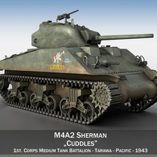 M4A2 Sherman - US Marines - Cuddles 3D Model
