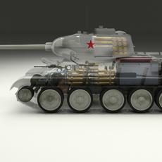 T-34/85 Interior/Engine Bay Full Winter Camo 3D Model
