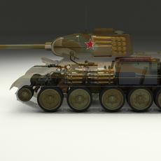 T-34/85 Interior/Engine Bay Full Camo 3D Model