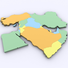 Map of the Middle East 3D Model