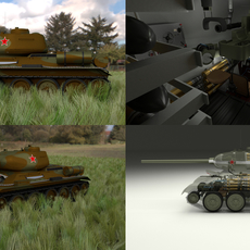 T-34/85 Interior/Engine Bay Full HDRI Camo 3D Model