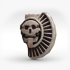 Aztec stone disk with skull 3D Model