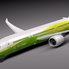 Boeing 787 Dreemliner Green Lemon 3D Model