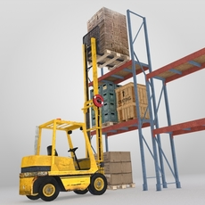 Forklift and Cargo 3D Model