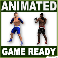 Low Poly Boxer Players 3D Model