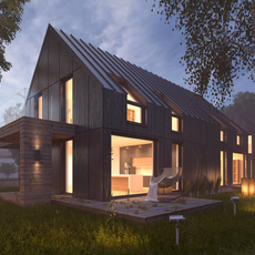 Vray Night Lighting Scene Rendering Modern House 3D Model