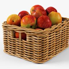 Wicker Apple Basket Ikea Byholma 1 Natural 3D Model