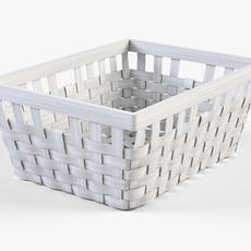 Wicker Basket Ikea Knarra 1 White Color 3D Model