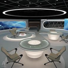 Virtual  Broadcasting TV News Studio 028 3D Model