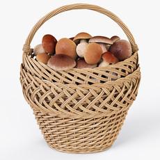 Wicker Basket 01 with Mushrooms 3D Model