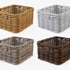 Wicker Basket Ikea Byholma 1 Set 4 Color 3D Model