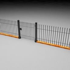 Elegant Historical Fence Low Poly Game Model 3D Model