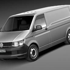 HQ LowPoly Volkswagen Transporter Panel Van T6 2016 3D Model