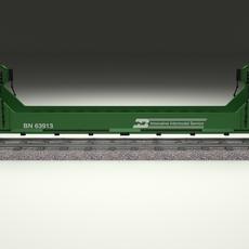Green Train Well Car 3D Model