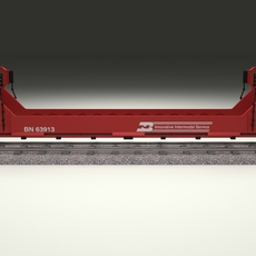 Red Train Well Car 3D Model