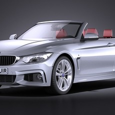 BMW 4-Series Convertible F33 M sport package 2015 VRAY 3D Model