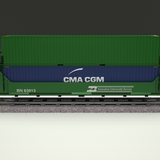Green Train Well Car w Containers 3D Model