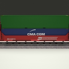 Red Train Well Car w Containers 3D Model