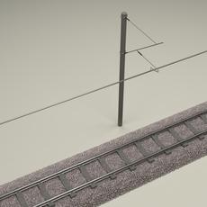 Train Track Electrified 3D Model