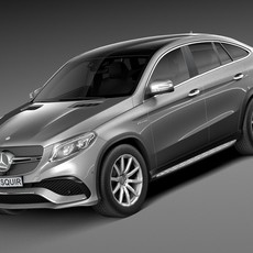 HQ Lowpoly Mercedes-Benz GLE63 AMG Coupe 2016 3D Model