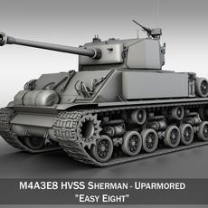 M4A3E8 HVSS Sherman - Uparmored 3D Model