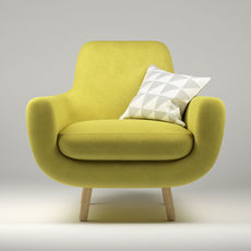 Armchair Jonah yellow with pillow 3D Model