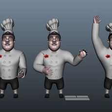Chef cartoon 5 poses 3D Model