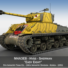 M4A3E8 Sherman - Easy Eight - Korea 3D Model