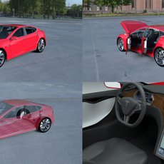 Tesla Model S with chassis-interior HDRI 3D Model