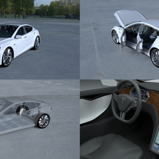 Tesla Model S with chassis/interior HDRI 3D Model