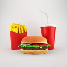 Cheeseburger Menu 3D Model