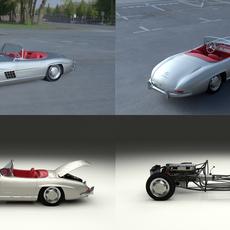 Fully Modelled Mercedes 300SL Roadster Silver HDRI 3D Model