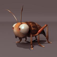 Cartoon Cricket Rig 3D Model