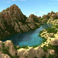 Mountain terrain with lake 3D Model