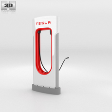 Tesla Supercharger with Open Charging Port 3D Model