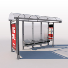 Urban Bus Shelter 3D Model