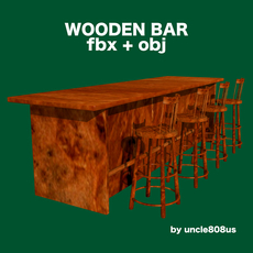 Bar and Stool fbx and obj 3D Model