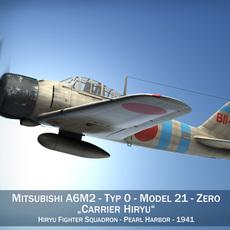 Mitsubishi A6M2 Zero - Carrier Hiryu 3D Model