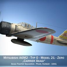 Mitsubishi A6M2 Zero - Carrier Akagi 3D Model