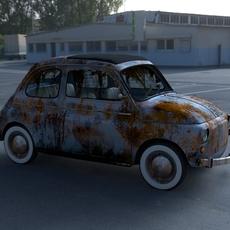 Fiat 500 Nuova 1957 with interior rusty HDRI 3D Model