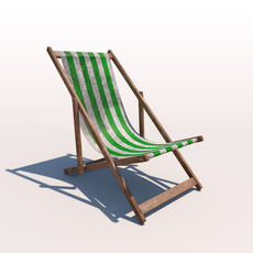 Deck Chair - Green - Weathered 3D Model