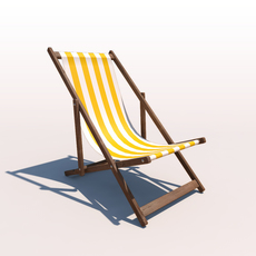 Deck Chair - Yellow 3D Model
