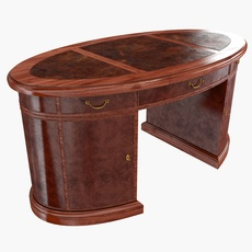 Oval Mahogany Leather Top  Desk 3D Model