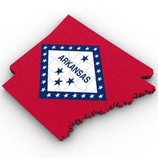 Arkansas Political Map 3D Model